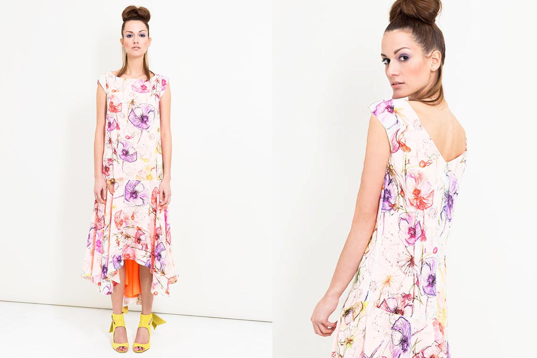 Langes Sommerkleid mit Volants von Coco Lores
