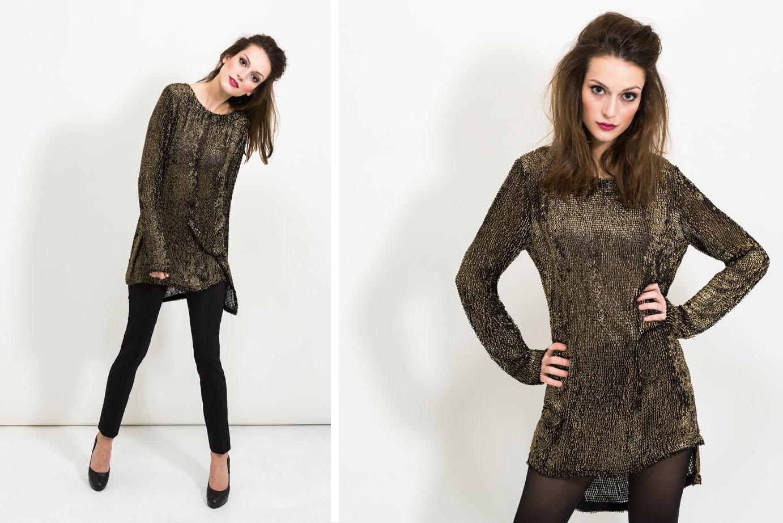 Langer Pullover in Goldstrick von Coco Lores