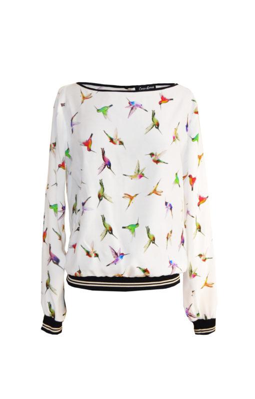 Weisse Bluse mit Vögeln