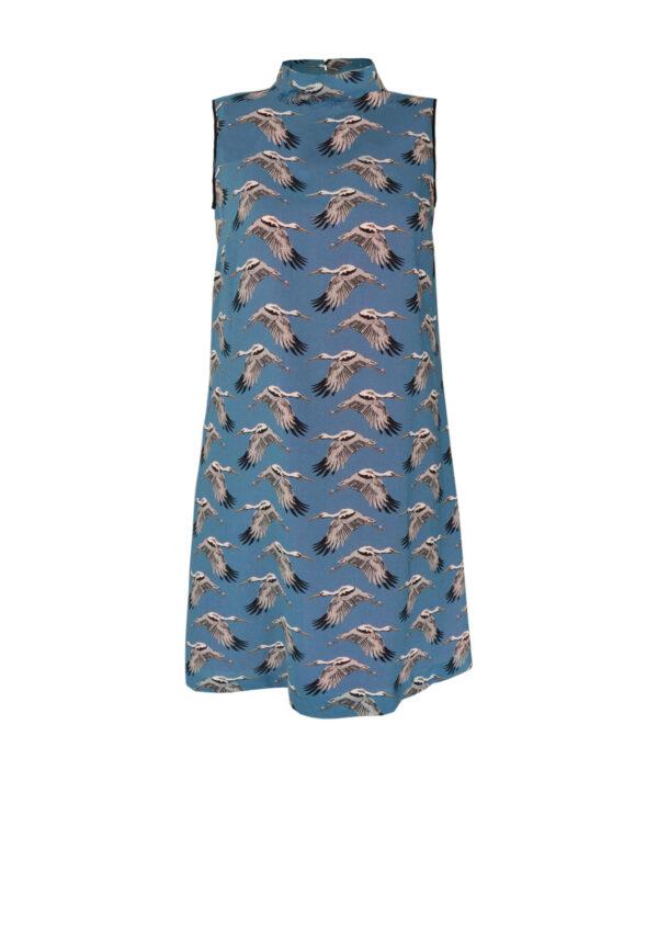 Sommerkleid mit Tierprint und Stehkragen