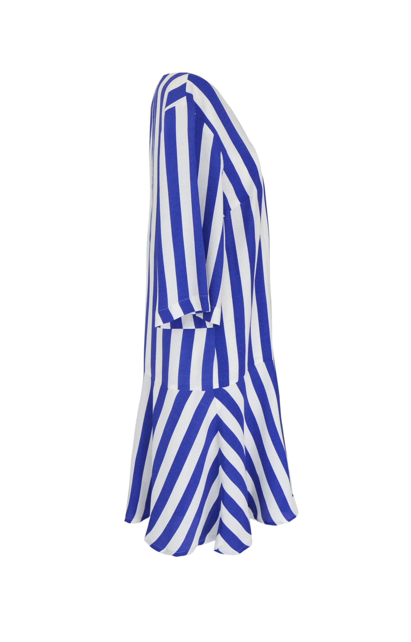 Sommerkleid mit Blockstreifen in Blau