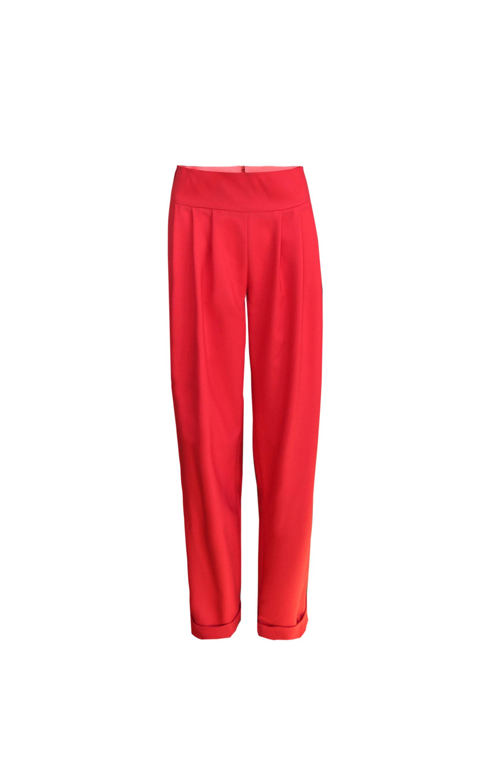 Hose Rot mit Bundfalten