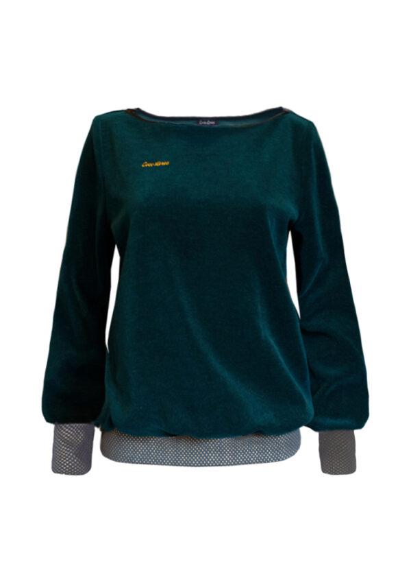 Pullover dunkelgrün Samt
