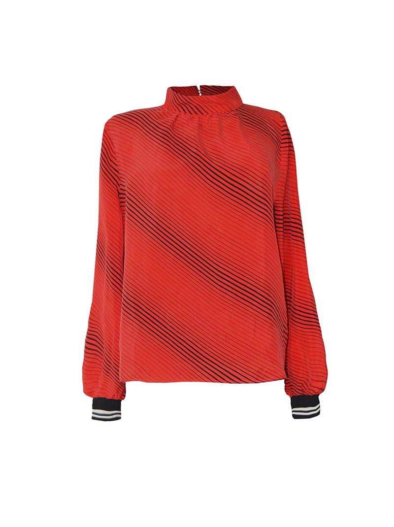 Oberteil mit langem und weiten Arm und Stehkragen Rot/Schwarz